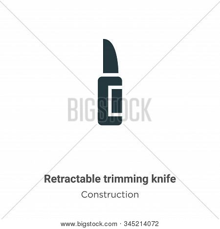 Retractable Trimming Knife Vector Icon On White Background. Flat Vector Retractable Trimming Knife I