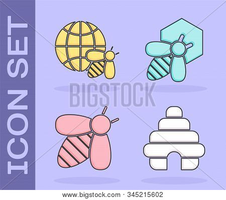 Set Hive For Bees, Honeycomb Map Of The World And Bee, Bee And Bee And Honeycomb Icon. Vector