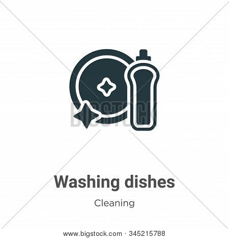 Washing dishes icon isolated on white background from cleaning collection. Washing dishes icon trend