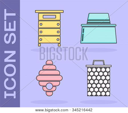 Set Honeycomb, Hive For Bees, Hive For Bees And Beekeeper With Protect Hat Icon. Vector