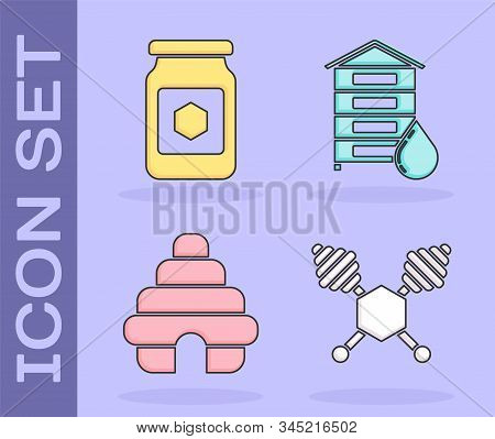 Set Honey Dipper Stick, Jar Of Honey, Hive For Bees And Hive For Bees Icon. Vector