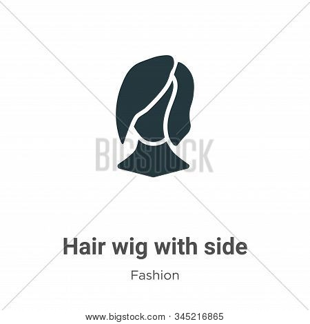 Hair wig with side icon isolated on white background from fashion collection. Hair wig with side ico