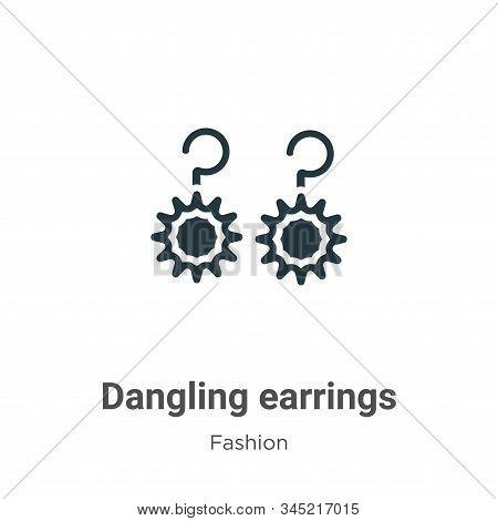 Dangling Earrings Vector Icon On White Background. Flat Vector Dangling Earrings Icon Symbol Sign Fr