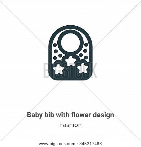 Baby bib with flower design icon isolated on white background from fashion collection. Baby bib with