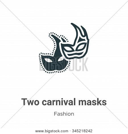 Two carnival masks icon isolated on white background from fashion collection. Two carnival masks ico
