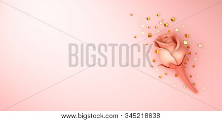 Happy Valentines Day, Valentines Day Background, Rose Flower, Gold Confetti Glitter On Pink Backgrou
