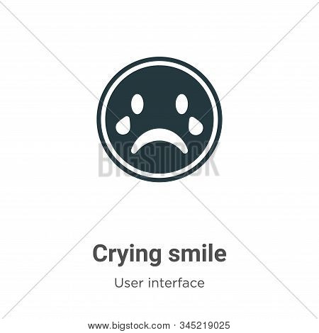 Crying smile icon isolated on white background from user interface collection. Crying smile icon tre