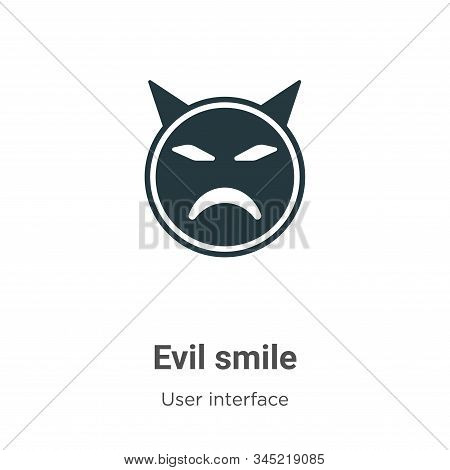 Evil Smile Vector Icon On White Background. Flat Vector Evil Smile Icon Symbol Sign From Modern User
