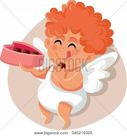 Funny Cupid Eating Chocolate Pralines From Heart Shaped Box