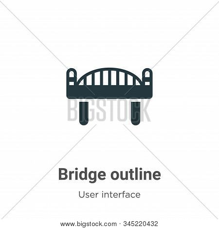 Bridge outline icon isolated on white background from user interface collection. Bridge outline icon