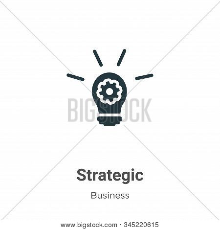 Strategic Vector Icon On White Background. Flat Vector Strategic Icon Symbol Sign From Modern Busine
