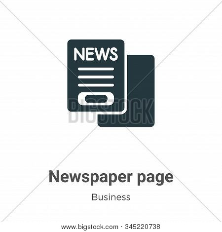 Newspaper page icon isolated on white background from business collection. Newspaper page icon trend