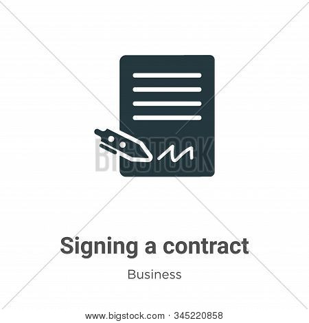 Signing a contract icon isolated on white background from business collection. Signing a contract ic