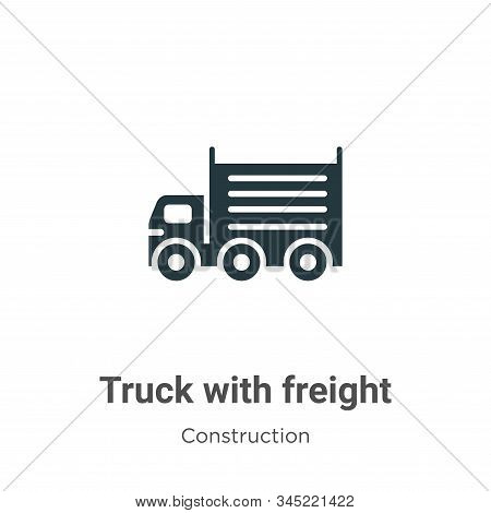 Truck With Freight Vector Icon On White Background. Flat Vector Truck With Freight Icon Symbol Sign