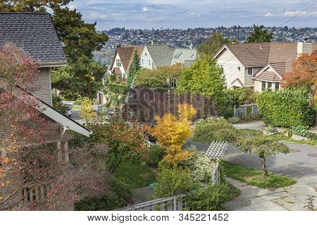 Residential Neighborhood And Fall Colors Seattle Wa.