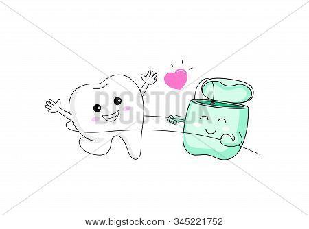 Cute Cartoon Tooth Character Using Dental Floss.  I Love Floss, Dental Care Concept. Vecotr Illustra