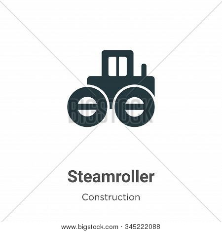 Steamroller Vector Icon On White Background. Flat Vector Steamroller Icon Symbol Sign From Modern Co