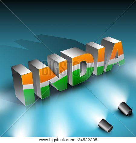 Shiny presentation of 3D text India in Indian Flag color.