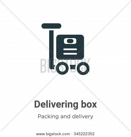 Delivering Box Vector Icon On White Background. Flat Vector Delivering Box Icon Symbol Sign From Mod