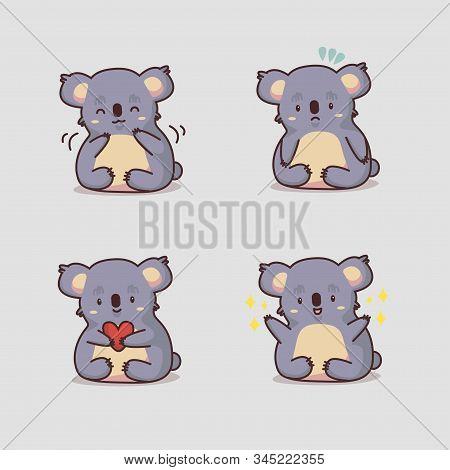 Koala Kawaii Stickers. Cute Cartoon Funny Kawaii Character . Can Be Used For Cards, Stickers, Flyers