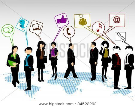 Social networking 3D peoples connect with social  network. EPS 10. Social networking and social media concept.
