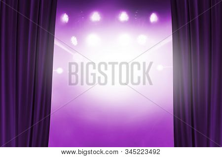 Open Purple Curtain Begin The Show, Abstract Image Of Concert Lighting