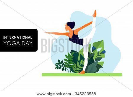 Woman Practicing Yoga Exercise, Yoga Pose. International Yoga Day.