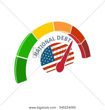 National Debt Meter Read High Level Of National Debt Result. Color Scale With Arrow From Green To Re