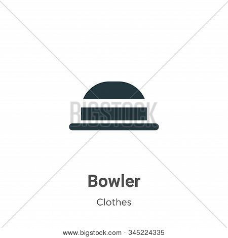 Bowler Vector Icon On White Background. Flat Vector Bowler Icon Symbol Sign From Modern Clothes Coll