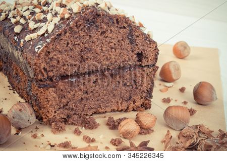 Vintage Photo, Homemade Fresh Baked Gingerbread Or Dark Cake With Cocoa And Chocolate, Delicious Des