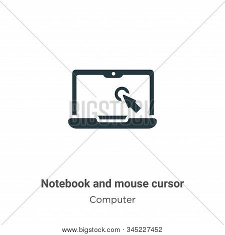 Notebook and mouse cursor icon isolated on white background from computer collection. Notebook and m