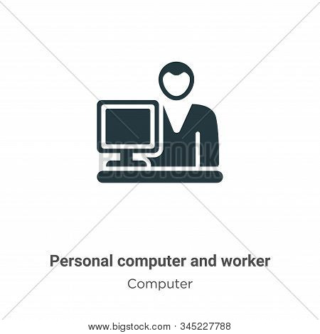 Personal computer and worker icon isolated on white background from computer collection. Personal co