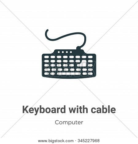Keyboard With Cable Vector Icon On White Background. Flat Vector Keyboard With Cable Icon Symbol Sig