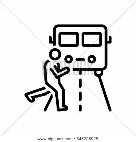 Black Line Icon For Impediment Obstacle Obstruction Hindrance Interrupt Person Across-the-truck