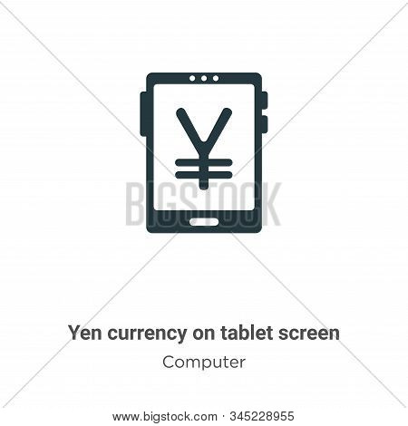 Yen currency on tablet screen icon isolated on white background from computer collection. Yen curren