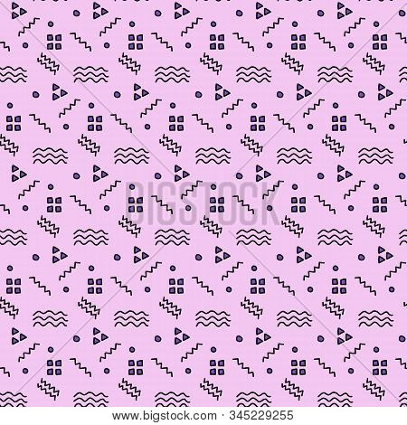 Handdrawing In Doodle Geometric Shape On Pink Pastel Background