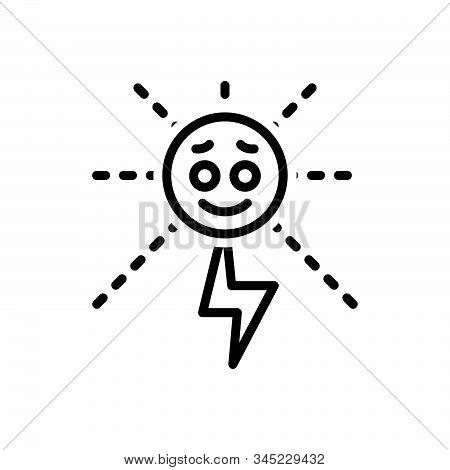 Black Line Icon For Energy Strength Potency Vigor Mightiness Solar