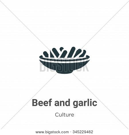 Beef And Garlic Vector Icon On White Background. Flat Vector Beef And Garlic Icon Symbol Sign From M