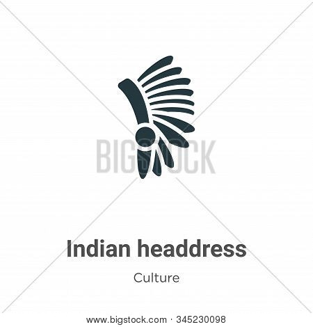 Indian Headdress Vector Icon On White Background. Flat Vector Indian Headdress Icon Symbol Sign From