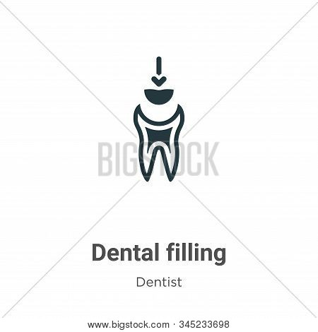 Dental Filling Vector Icon On White Background. Flat Vector Dental Filling Icon Symbol Sign From Mod