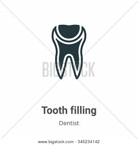 Tooth Filling Vector Icon On White Background. Flat Vector Tooth Filling Icon Symbol Sign From Moder