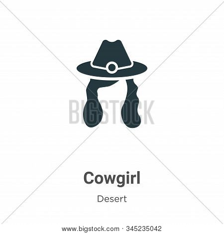 Cowgirl Vector Icon On White Background. Flat Vector Cowgirl Icon Symbol Sign From Modern Desert Col