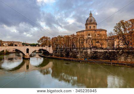 View Of Ponte Principe Amedeo Savoia Aosta That Spans The Riber Tiber, With Museo Di Arte Sacra San