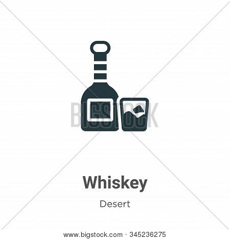 Whiskey Vector Icon On White Background. Flat Vector Whiskey Icon Symbol Sign From Modern Wild West