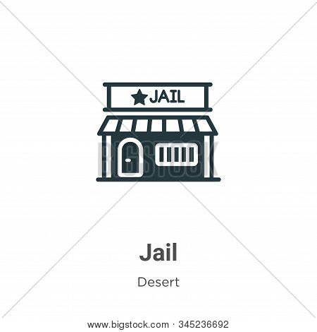 Jail Vector Icon On White Background. Flat Vector Jail Icon Symbol Sign From Modern Wild West Collec