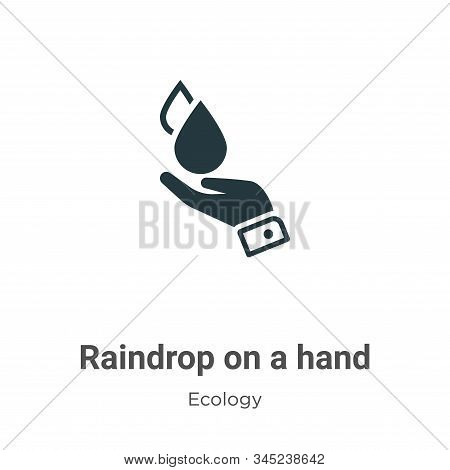 Raindrop on a hand icon isolated on white background from ecology collection. Raindrop on a hand ico