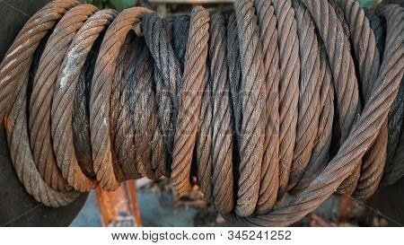 Corroded Steel Cables, Equipment On Ships Affected By Environmental Oxidation