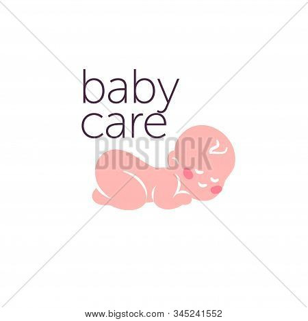 Logo Design For Kid Toys Store, Market, Boutique With Sleeping Naked Baby Character Silhouette Isola