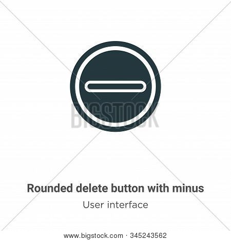Rounded delete button with minus vector icon isolated on white background from modern user interface