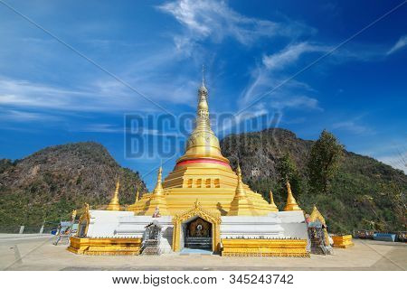 Outdoor View Of Payathonzu Golden Pagoda In Fornt Of Double Mountain,myanmar.